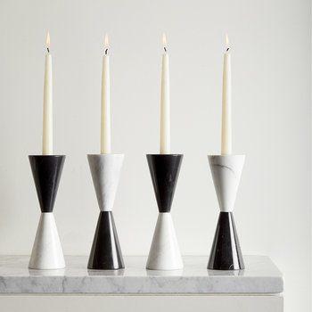 Canaan Marble Candlestick - Black/White