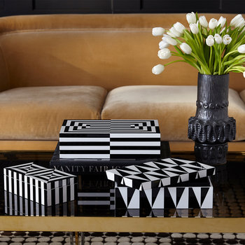 Op Art Lidded Rectangular Box - Small - Black/White