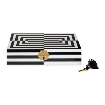 Op Art Lacquered Jewellery Box - Black/White