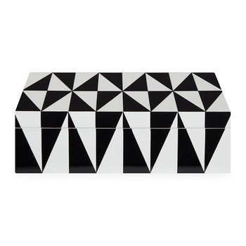 Op Art Lidded Rectangular Box - Medium - Black/White