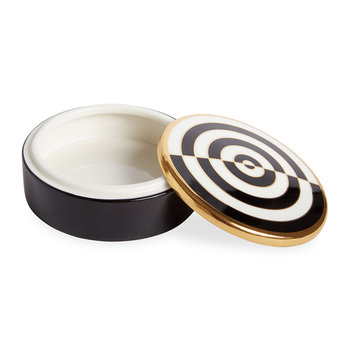 Op Art Porcelain Round Box - Black/White/Gold