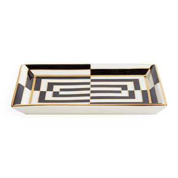 Op Art Porcelain Tray - Black/White/Gold - Rectangular