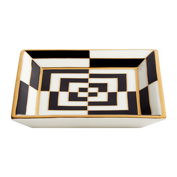 Op Art Porcelain Tray - Black/White/Gold - Square