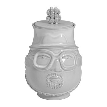 White Ceramic Hip Hop Canister - The King