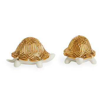 Tortoise Porcelain Salt & Pepper Shakers - White/Gold