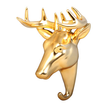 Deer Wall Hook - Porcelain - Gold