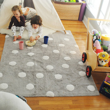 Polka Dots Washable Rug - 120x160cm - Grey/White
