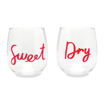 Sweet & Dry Acrylic Stemless Wine Glasses - Set of 2