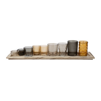 Assorted Brown Glass Votives - Set of 9