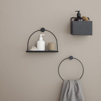 Bathroom Shelf - 26cm - Black Metal/Wood