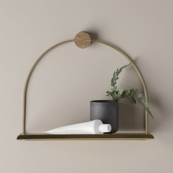 Bathroom Shelf - 26cm - Brass/Oiled Oak
