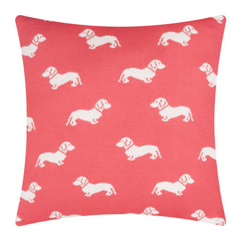 Knitted Dachshund Cushion - 50x50cm - Pink