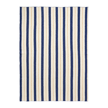 Pinstripe Cotton Blanket - Blue