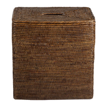 Rectangular Laundry Basket with Flat Lid - Teak