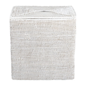 Rectangular Laundry Basket with Flat Lid - White