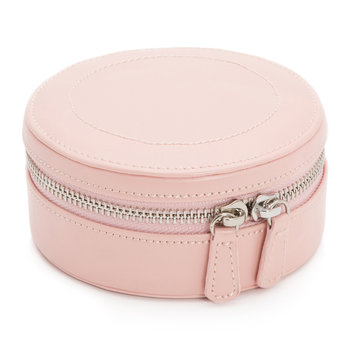 Sophia Mini Round Zip Jewellery Case - Leather - Rose Quartz