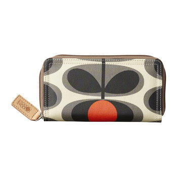 Laminated Flower Oval Stem Big Zip Wallet - Granite