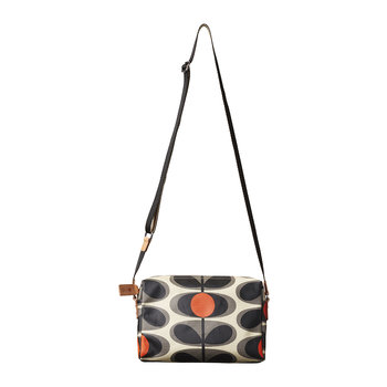 Laminated Flower Oval Stem Cross Body Bag - Granite