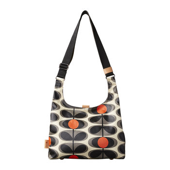 Laminated Flower Oval Stem Midi Sling Bag - Granite
