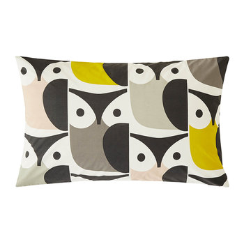 Big Owl Pillowcase Pair - Pink/Warm Gray