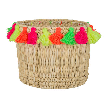 Fluorspar Bucket with Tassels - Multicolor