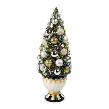 Silver Lining Bottle Brush Decorative Tree