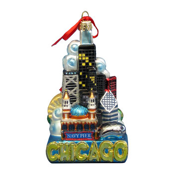 Chicago City Glass Tree Decoration