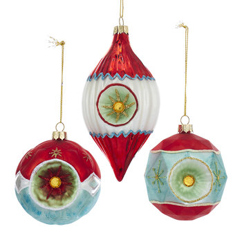 Glass Ball and Finial Tree Decorations - Set of 3