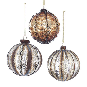 Glass Earthstone Bauble Tree Decorations - Set of 3
