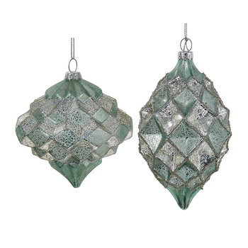 Glass Finial Tree Decorations - Set of 2