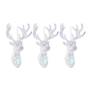 Iridescent Deer Head Tree Decorations - Set of 3