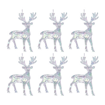 Iridescent Hanging Deer Tree Decorations - Set of 6