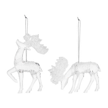 Clear Moose Tree Decorations - Set of 2