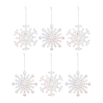 Iridescent Snowflake Tree Decorations - Set of 6