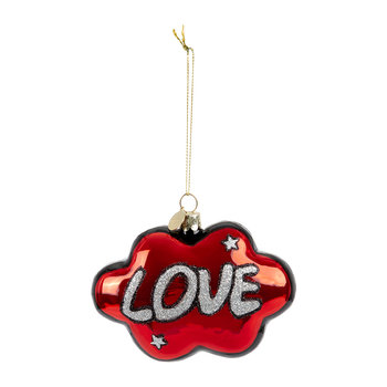 'Love' Cloud Tree Decoration - Red