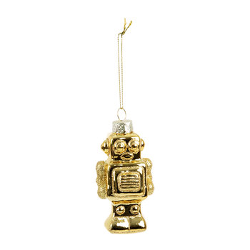 Glass Robot Tree Decoration - Gold