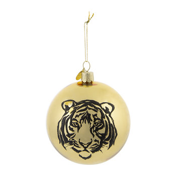 Glass Tiger Bauble - Gold