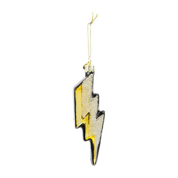 Lightening Strike Tree Decoration - Gold/Black Glitter