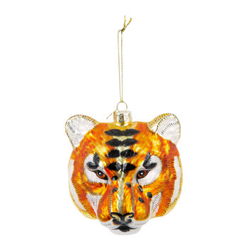 Tiger Head Tree Decoration - Gold/Black