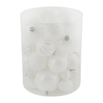 Set of 34 Assorted Baubles - Winter White