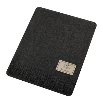 Natural Alpaca Throw - Charcoal