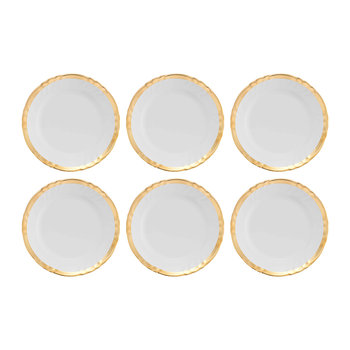 Assiettes à Dessert Or Romantique - Lot de 6 - Blanc