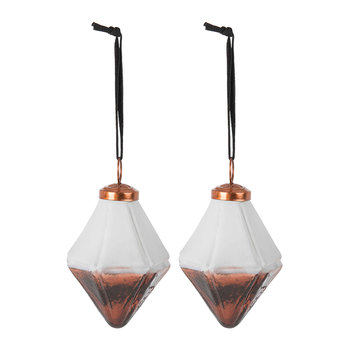 Set of 2 Two-Tone Geometric Tree Decorations - Copper