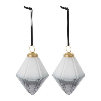 Set of 2 Two-Tone Geometric Tree Decorations - Grey