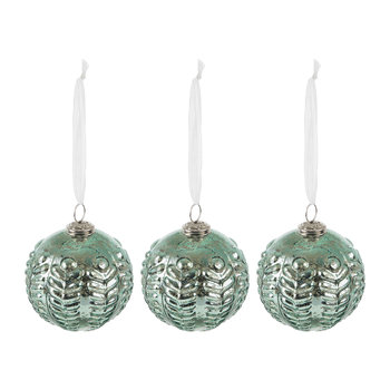 Set of 3 Patterned Teal Tree Decorations