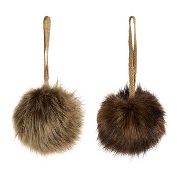 Furry Baubles - Set of 2 - Brown