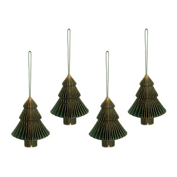 Paper Honeycomb Christmas Tree Hanging Decoration - Forest Green