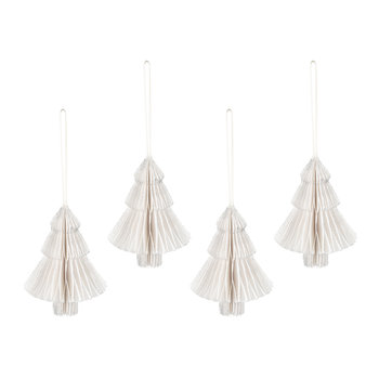 Paper Honeycomb Christmas Tree Hanging Decoration - Set of 4 - White