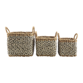 Village Baskets - Black/White - Set of 3
