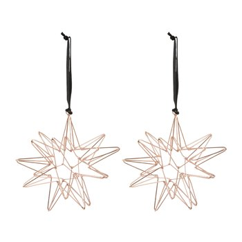 Set of 2 Wire Star Tree Decorations - Copper
